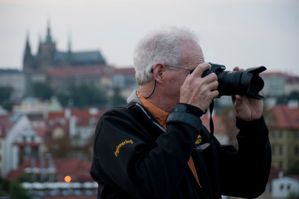Like father like son - Dad documenting the sights around Prague.