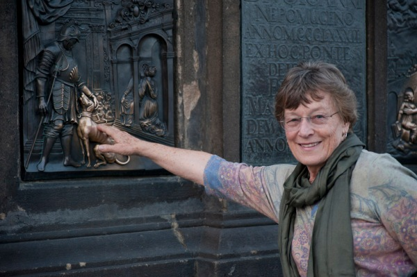 Mom trying her luck on the Charles Bridge.