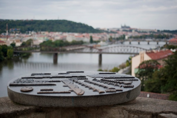 At the Vyšehrad Fortress looking north upon the many bridges over the Vltava River as it meanders through Prague.