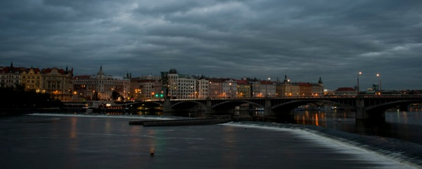 Nightfall on the Vltava.