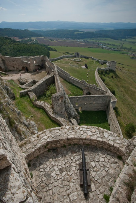 Looking down the many barriers of entry greeting enemies who may want to enter Spišský Hrad.