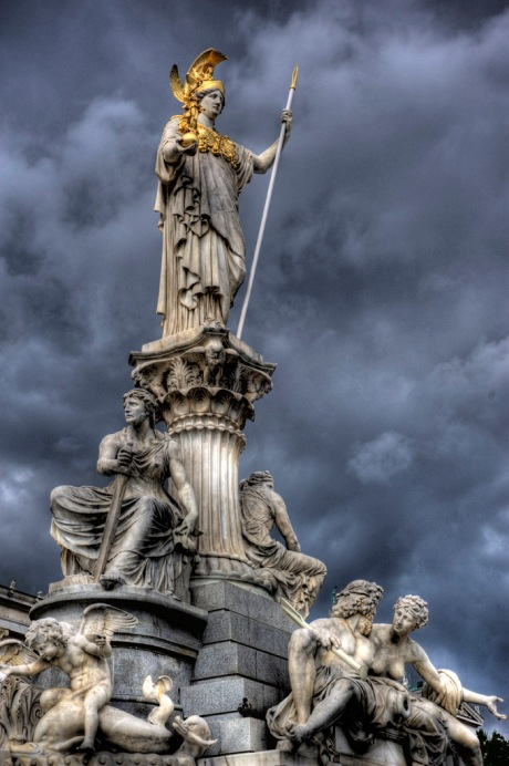 The Pallas-Athena-Brunnen (Athena Statue) in front of parliament building. - HDR Composite