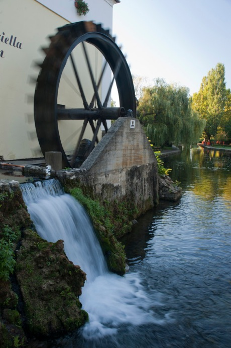 A waterwheel in downtown Tapolca, Hungary.
