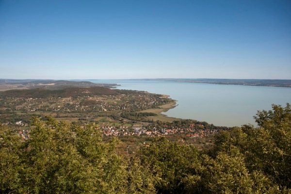 Lake Balaton, the largest lake in Central Europe at 592 sq.km (230 sq.mi), as seen from the summit of Badacsony Mountain.