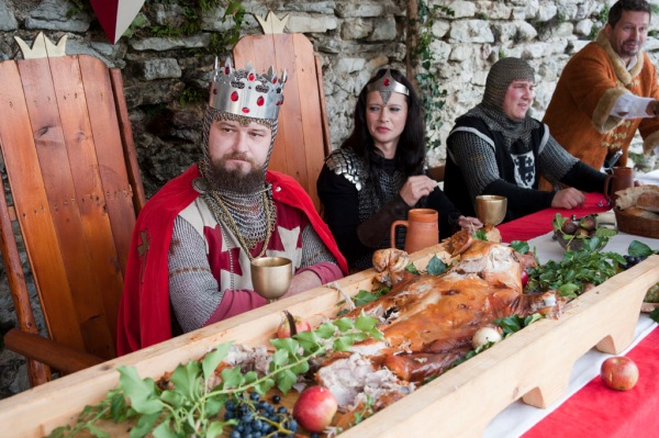 The King and Queen at the dinner table at Medvedgrad Castle near Zagreb..