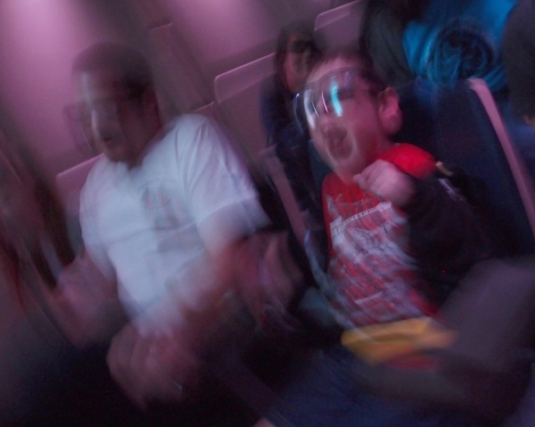 Eric and Tayt on the Star Tours ride. Tayt about lost his mind on this one, I think everyone else on the ride had more fun watching Tayt than anything else!