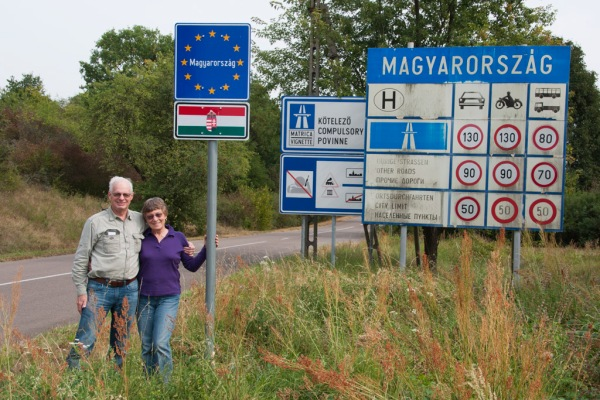 Posing at the Hungarian border.
