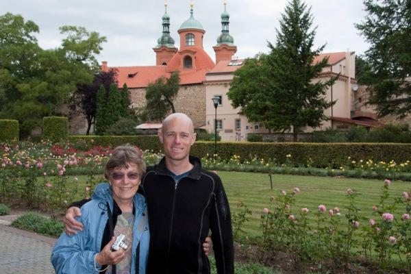 Mom and I pose near the Petřínská Rozhledna.